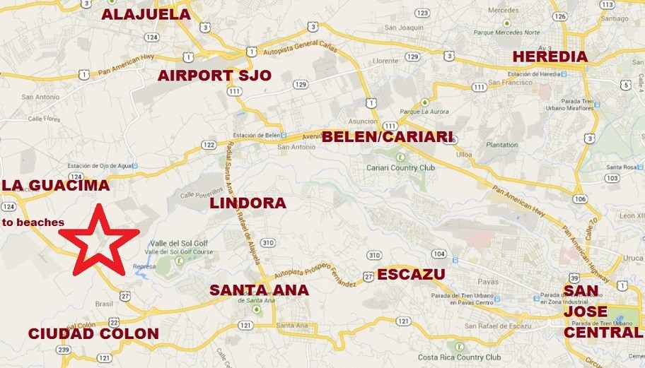 Central Valley Location. Close to SJO Airport. Easy day trips to Beaches, Capital, and Volcanoes.